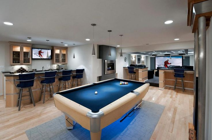 Basement Modern Blue Billiard Table In Basement Finishing Ideas Above Laminate Wood Floor Have Blue Bar Chairs Pendant Lighting White Painted Wall Functional Basement Finishing Ideas