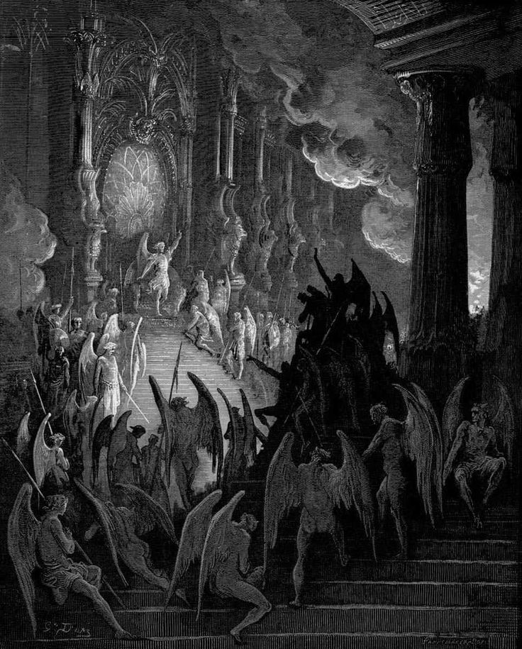 Satan holds a meeting for his legions of demons inside the enormous palace called Pandaemonium, the Capitol of Hell. Illustrated by Gustave Dore.