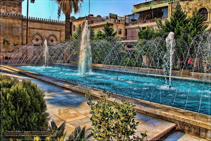 البرك والنوافير أمام الجامع الأموي الكبير - حلب   THE POND & FOUNTAINS FRONT OF OMAYYAD MOSQUE - ALEPPO