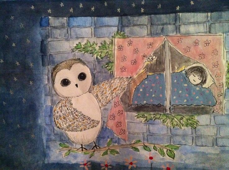 """""""The Owl Outside my Door ... he stays awake all night you see while I am sound asleep ... lullabye bedtime story"""