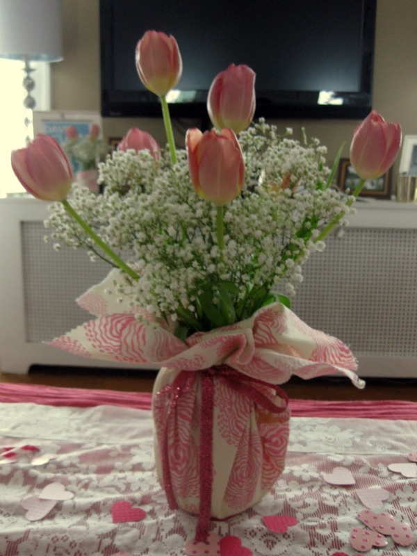 Fabric wrapped vases for volunteer appreciation banquet