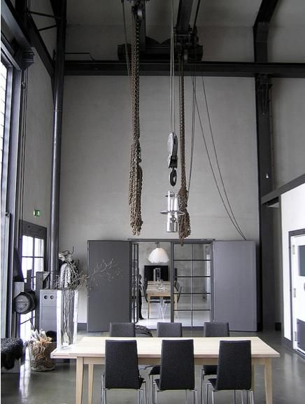 //: Dining Rooms, Decor, Living Rooms, Interiors, Grey, Ceilings, Industrial Style, Hotels Furillen, Popular Restaurant