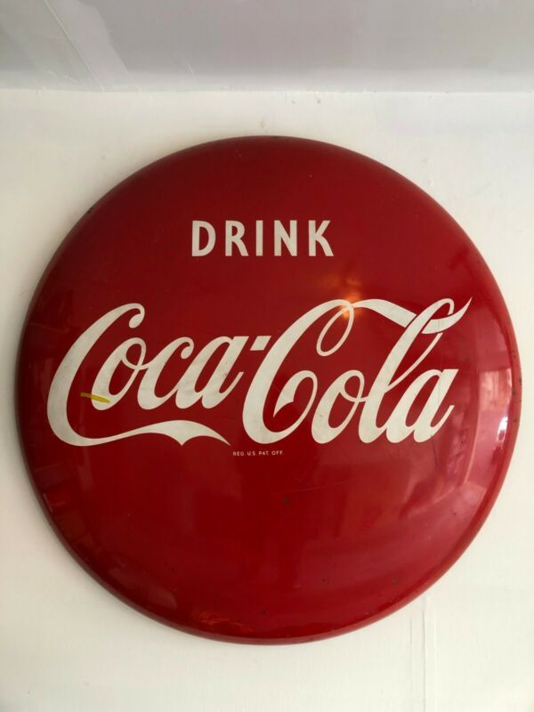 Vintage 48 Coke Button Metal Advertising Sign Local Pickup Only Advertising Signs Vintage Porcelain Ebay