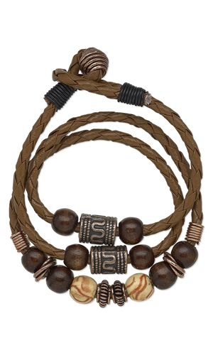 Bracelet with Antiqued Copper Beads, Wood Beads and Bola Cord by Taylor at Fire Mountain Gems and Beads. #mensjewelry #leatherjewelry