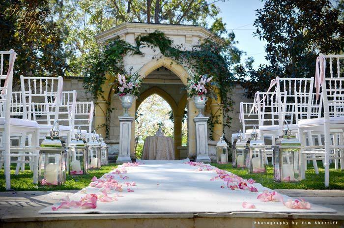 Pretty Outdoor Wedding Ceremony Evergreen Garden Venue Styled
