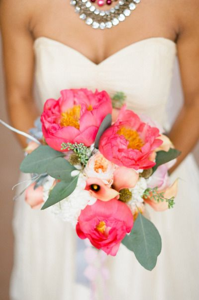 Bright pink peony bouquet: http://www.stylemepretty.com/living/2011/12/31/new-years-eve-inspiration-by-erich-mcvey-photography-a-b-creative/ | Photography: Erich McVey - http://www.erichmcvey.com/