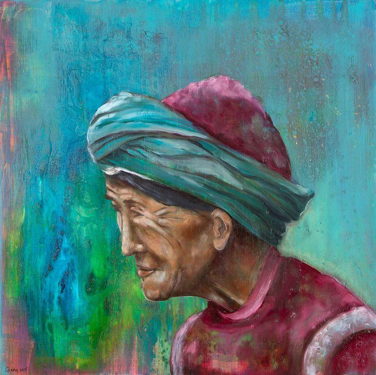 Schilderij Jampa, Vrouw, Tibetaanse vrouw, portret, kleurrijk, gezicht, Kunst - Conny Verschuuren - www.ateliermetverve.nl
