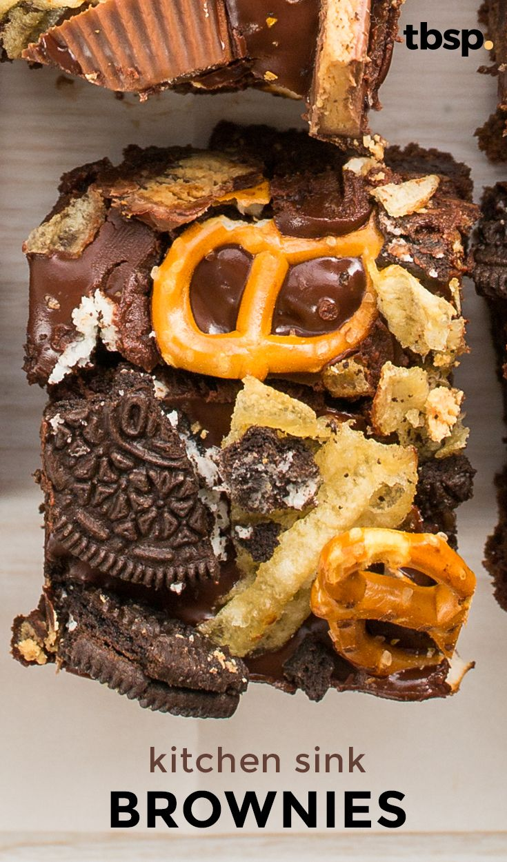 Cowboy Bark gets a twist when all of our favorite toppings—pretzels, potato chips, peanut butter cups, Oreo™ cookies—are tossed atop gooey, fudgy Betty Crocker brownies. Prepare your forks, people. These may be the browniest brownies that ever brownied.