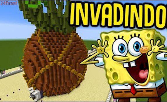 Minecraft - INVADINDO A CASA DO BOB ESPONJA!! (MINECRAFT INVADINDO )