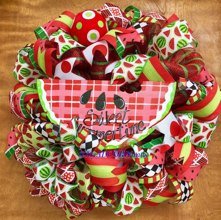 Watermelon Wreath, Summer Watermelon Deco Mesh Wreath, Spring Wreath, Watermelon Decor, Whimsical Summer Wreath Decor, Pool Wreath, XL by MyADOORableWreaths on Etsy https://www.etsy.com/listing/507035036/watermelon-wreath-summer-watermelon-deco