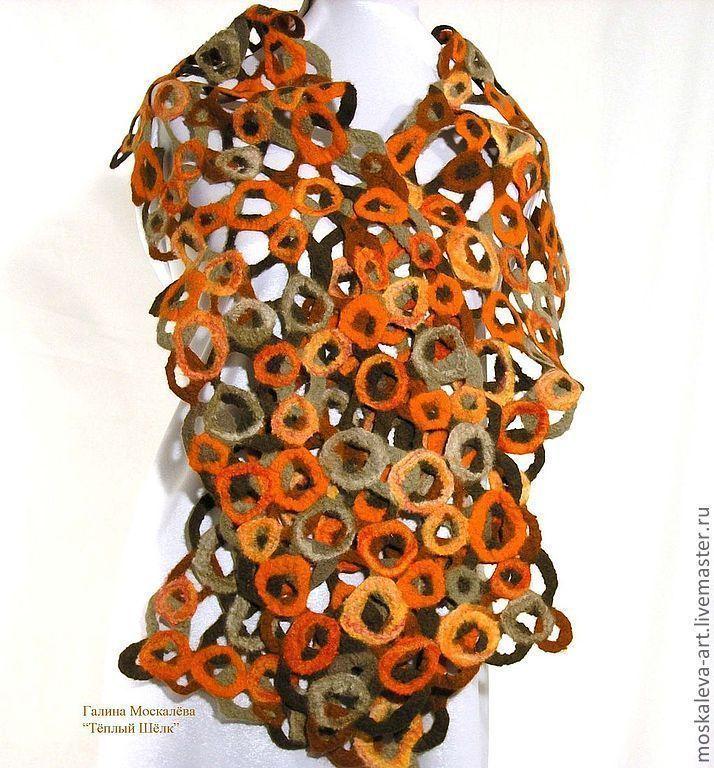 """Купить Шарф Валяный """"Ажурная Осень"""" - рыжий, в горошек, шарф, шарф женский, шарф шерстяной"""