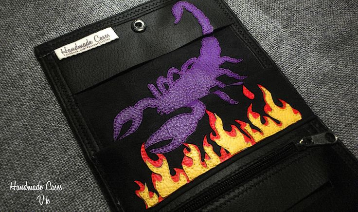 Scorpion with flames.Tobacco Case Synthetic Leather https://www.facebook.com/Vassoartistiko