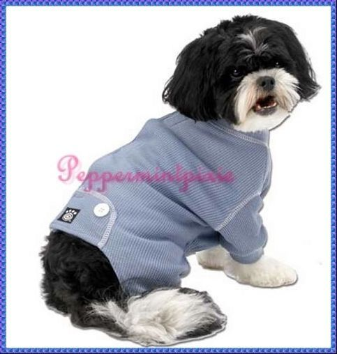PetRageous Cozy Thermal Dog Pajamas -4 legged  extra Small: Blue Xsmall  NewTags #PetRageousAdorable  thermal pajamas with  faux back flap and decorative buttons.  Contrast white top stitching   Cotton/Polyester blend,