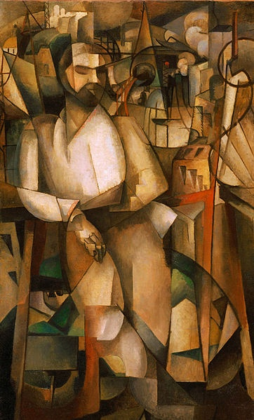 Artist:Albert Gleizes Movement: Cubism Name:l'Homme au Balcon or Man in the Balcony (1912) Location:Philadelphia Museum of Art (Pennsylvania)