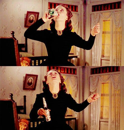 Scarlett trying to cover up her drinking with cologne, GWTW