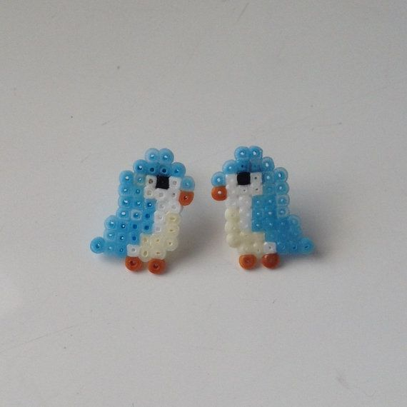 Cute L'il Bird Perler Bead Stud Earrings by KungFuse on Etsy