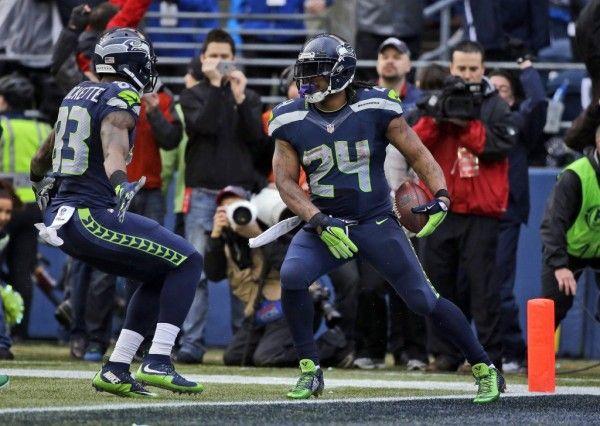 Marshawn Lynch touchdown Seahawks Packers NFC championship