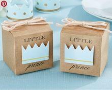Petit Prince Princesse Brun Kraft Papier Cadeau Box Baby Shower Fête D'anniversaire Favorise des Boîtes De Bonbons avec La Couronne et Ficelle 12 pcs(China (Mainland))