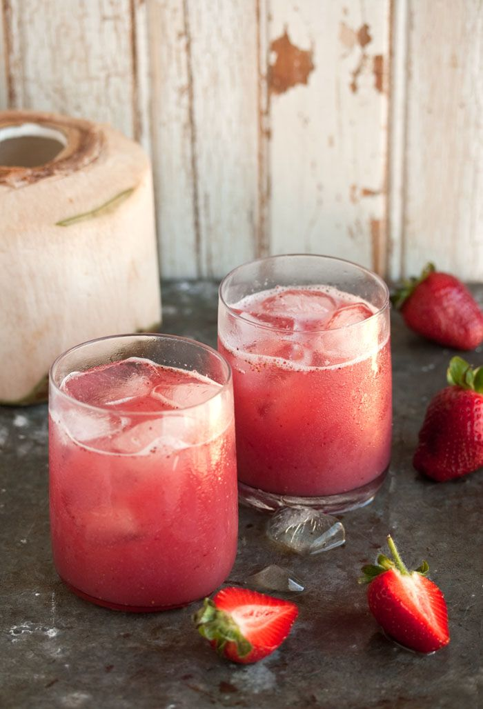 cocktail with strawberries and coconut water