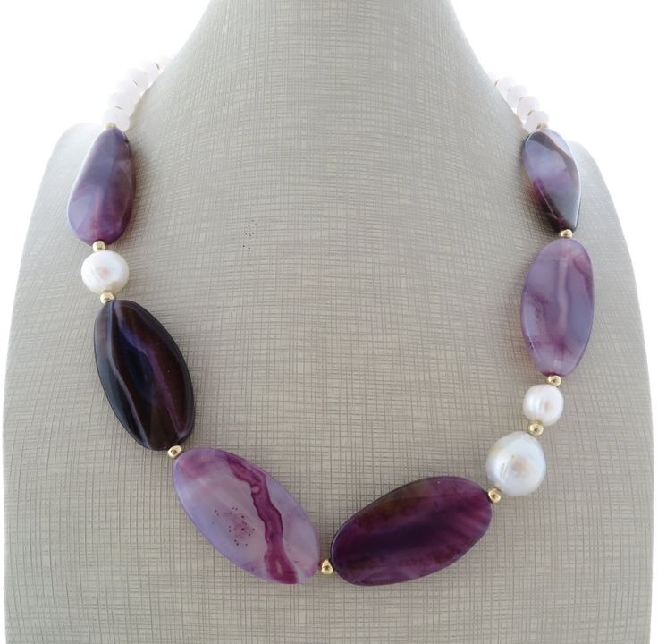 Agate necklace, beaded necklace with pearls, purple choker, stone necklace, uk gemstone jewellery, italian jewelry, gift for her, gioielli by Sofiasbijoux on Etsy