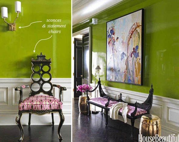 La Dolce Vita: Glamorous formal entryways with modern #art and wall #paint color I LOVE this paint color!!!