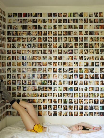 Teenager's bedroom wallpapered with Polaroid pictures