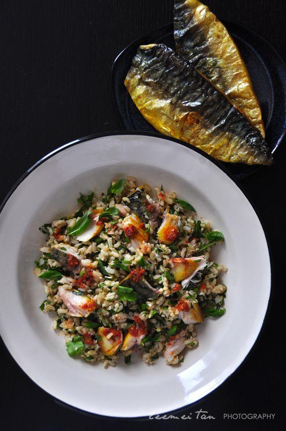 nasi ulam and turmeric spiced mackerel