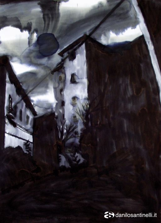 """Danilo Santinelli """"From the window 4b"""" acrylic and ink on paper 56x76cm (somewhere in Russia)"""