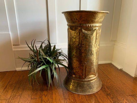 Brass Umbrella Stand Holder Gold Tone Metal Foyer Entry Etsy Vintage Victorian Home Decor