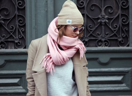 Pink scarf with white top, neutral coat & beanie.