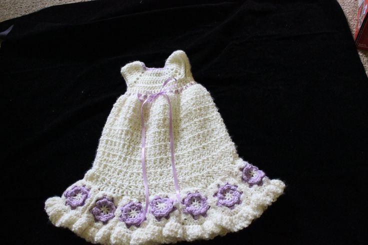 Crochet Baby Girl Cream and Purple Malaya Blessing Dress/Christening Gown, Baby Shower Gift, Beautiful Photo Prop, Newborn, Baby, Infant