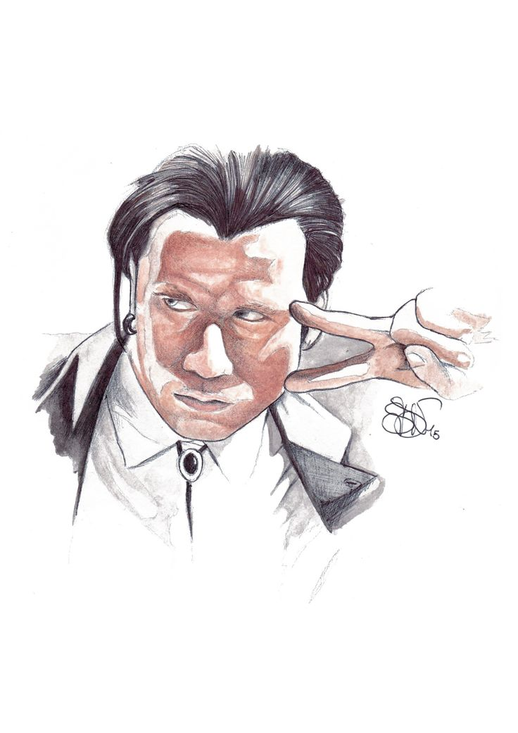 John Travolta in Pulp Fiction. Art by SDV. #vincentvega #pulpfiction #watercolor