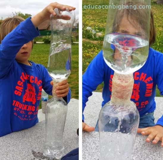 experimento tornado botella presion aire
