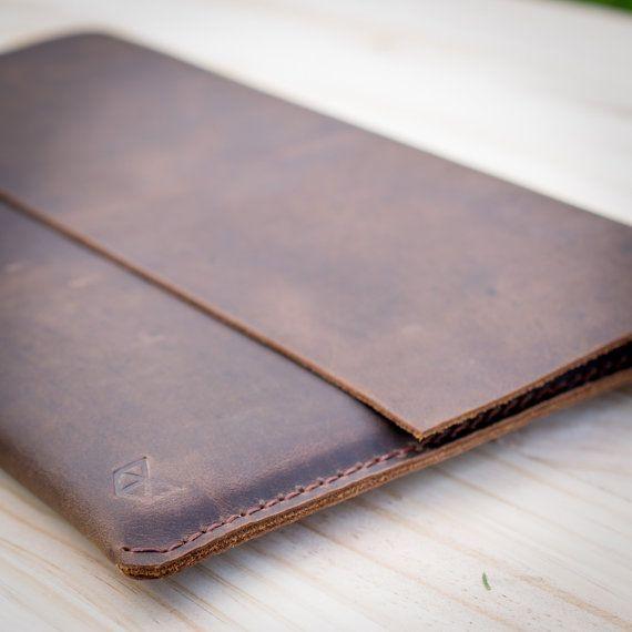 HeteroChromia Dark Brown Dell XPS 13 case, Dell XPS 13 sleeve Personalized Gift, Men Leather Sleeve, boyfriend, anniversary // MINIAL Marron