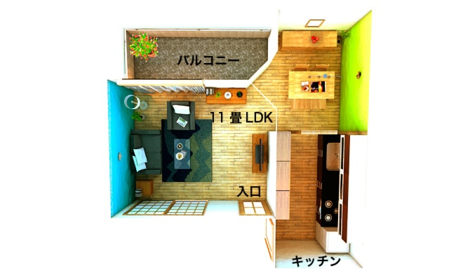 Plan from the much larger 78 sq m Japanese apartment. But the living-room itself is rather tight.