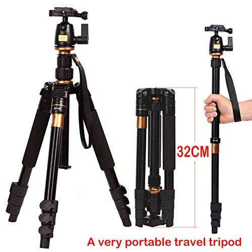 "Sinvitron Profeshional Portable Magnesium Aluminium Alloy Tripod Monopod & Ball Head For Dslr Slr Camera Dv Canon Nikon Petax Sony Tripod Q-555 Max Height: 55.9"" Max Load: 8kg"