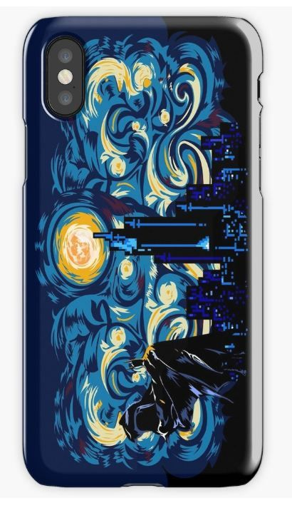 Starry supermoon abstract iPhone Cases & Skins #iphonecase #iphonex #iphone4 #iphone5 #iphone6 #iphone7 #iphone8 #case #starry #night #starrynight #dark #knight #darkknight #painting #oilpainting #digitalpainting #vangogh #supermoon #man #symbol #logo #geeky #nerd