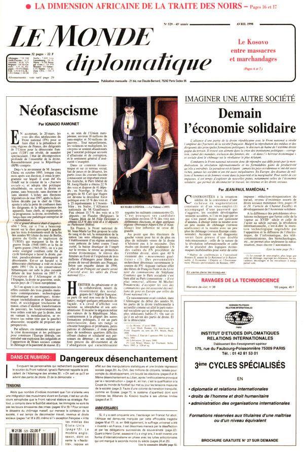 par  Alain Garrigou (Le Monde diplomatique, avril 1998)  //  Combien de Français lorsqu'ils ont pris part, le 15 mars, aux élections cantonales et régionales, se sont souvenus que le suffrage universel ne date (...)