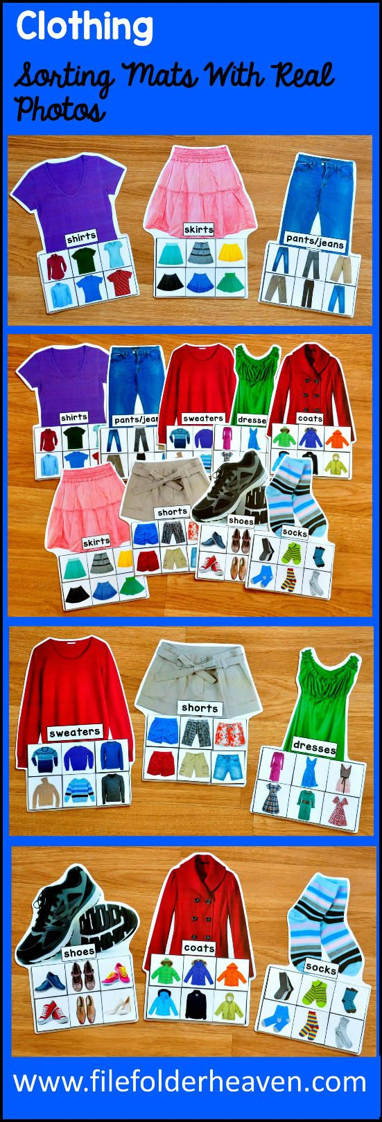 These Clothing Sorting Mats w/ Real Photos include 9 unique sorting mats that focus on identifying the things we wear or articles of clothing.  At an independent workstation, center or language group, students complete the following sorting mats by identifying the type of clothing on each sorting piece.   Sorting Mats In This Set:  Shirts Pants/Jeans Shorts Sweaters Dresses Skirts Coats Socks  Shoes