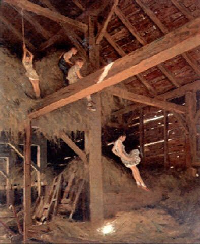 kids playing in the barn