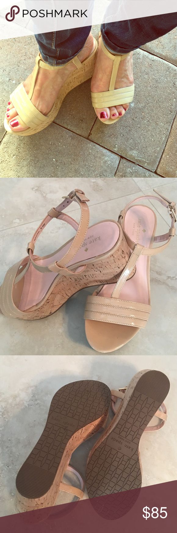 "The Tallin Wedge by kate spade In ""Powder Patent"" the Tallin Cork Wedge by kate spade is the perfect neutral sandal for your wardrobe!  Excellent, like new condition. Worn TWICE! kate spade Shoes Wedges"