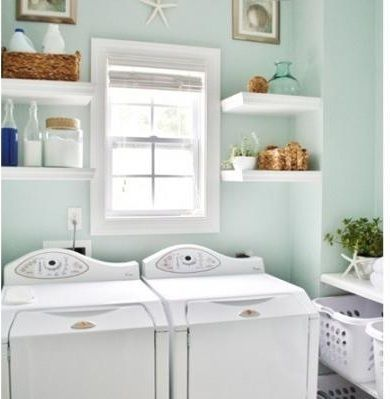 Such a beachy, breezy ambiance. Perfect for a laundry room!
