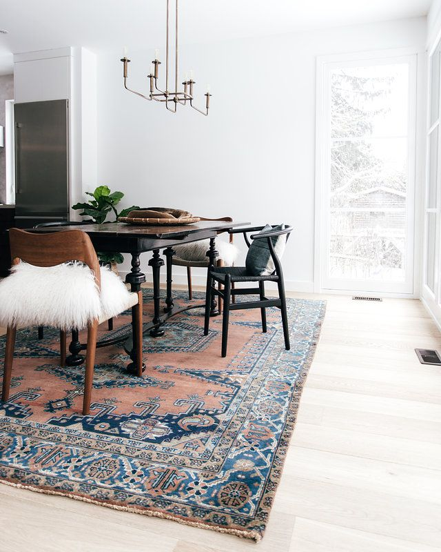2018 Dining Room Trend We Are Seeing A Large Area Rug For Under