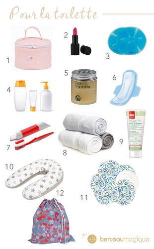 Les affaires de toilette de Maman dans la valise de maternité
