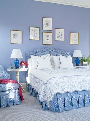 Blue Bedroom  Everybody loves blue and white. These periwinkle walls in Benjamin Moore Riviera Azure contrast nicely with the bright white linens and pictures.