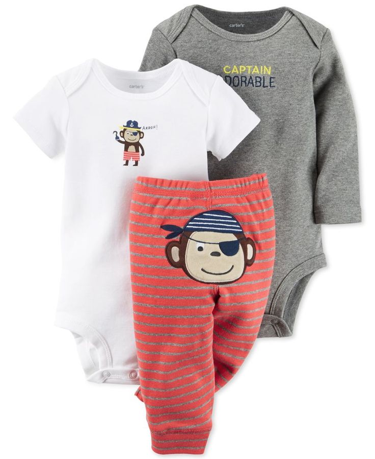 http://www.specialtytoystores.com/category/newborn-girl-clothes/ Carter's Baby Boys' 3-Piece Bodysuit & Monkey Pants Set