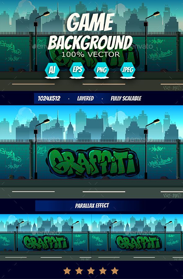 2d Graffiti Game Background - Backgrounds #Game Assets Download here:  https://graphicriver.net/item/2d-graffiti-game-background/19727945?ref=alena994