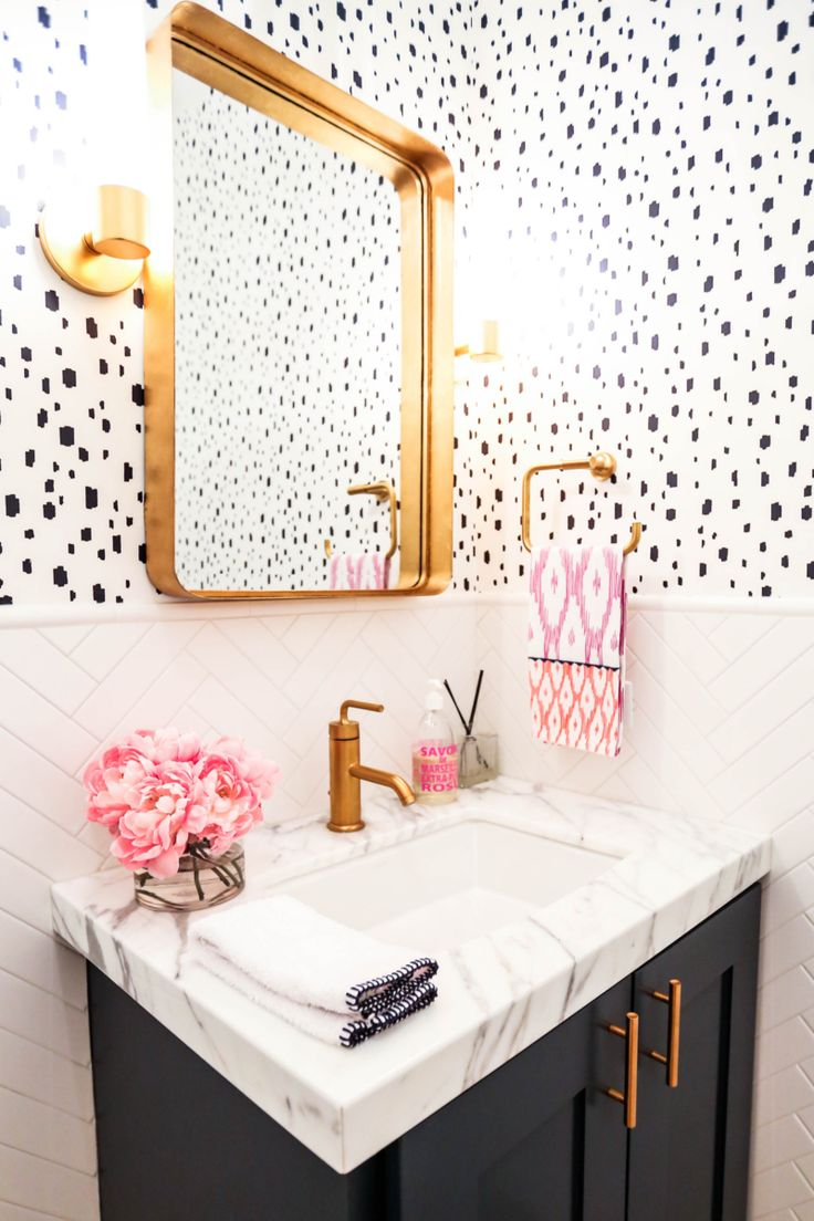 Polka dot bathroom decor - Caitlin Wilson Navy Spotted Bathroom
