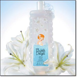 Avon Bubble Delight White Lily Bubble Bath by Avon. $3.50. Avon Bubble Delight White Lily Bubble Bath 700ml 24 fl oz. Soften skin. Avon Bubble Delight White Lily Bubble Bath. Gentle cleansing and ring around the tub Sensitive skin has met its match. Rich, foaming bubble gently cleanse ans refresh all over.