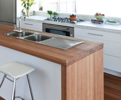 White Kitchen Timber Benchtop Kitchen Pinterest Promotion Cabinets And Butcher Block